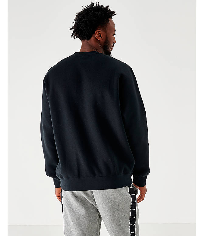 Back Left view of Men's Nike Sportswear Club Fleece Crewneck Sweatshirt in Black/White