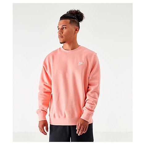 Nike Men's Sportswear Club Fleece Crewneck Sweatshirt In Pink