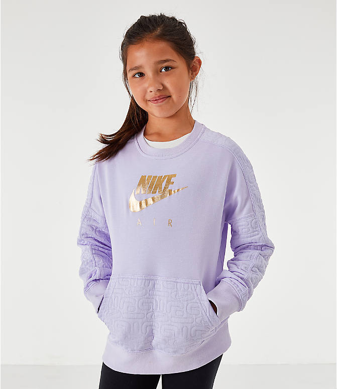 Front view of Girls' Nike Air Quilted Crewneck Sweatshirt in Lavendar Mist/Metallic Gold