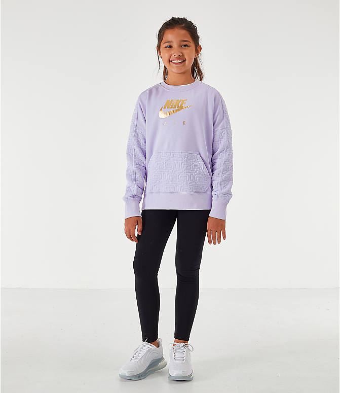 Front Three Quarter view of Girls' Nike Air Quilted Crewneck Sweatshirt in Lavendar Mist/Metallic Gold