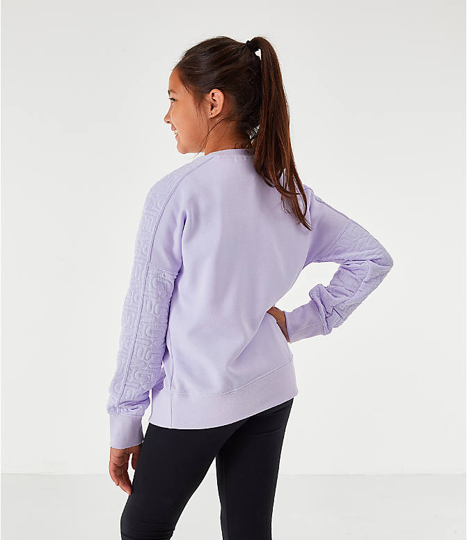 Back Left view of Girls' Nike Air Quilted Crewneck Sweatshirt in Lavendar Mist/Metallic Gold