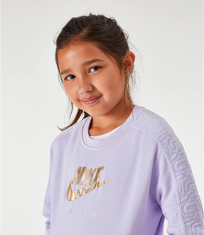 Back Right view of Girls' Nike Air Quilted Crewneck Sweatshirt in Lavendar Mist/Metallic Gold