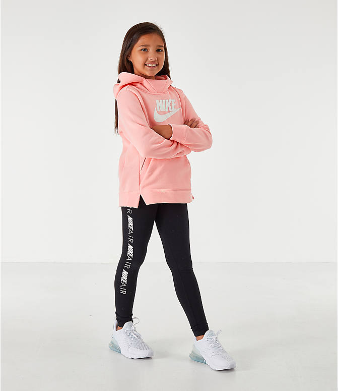 Front Three Quarter view of Girls' Nike Sportswear Essential Hoodie in Pink