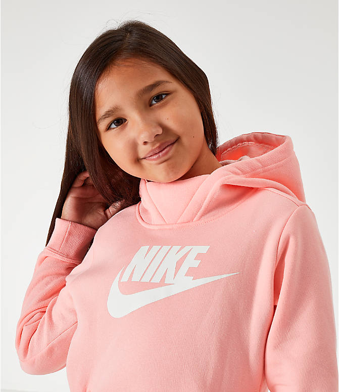 Back Right view of Girls' Nike Sportswear Essential Hoodie in Pink