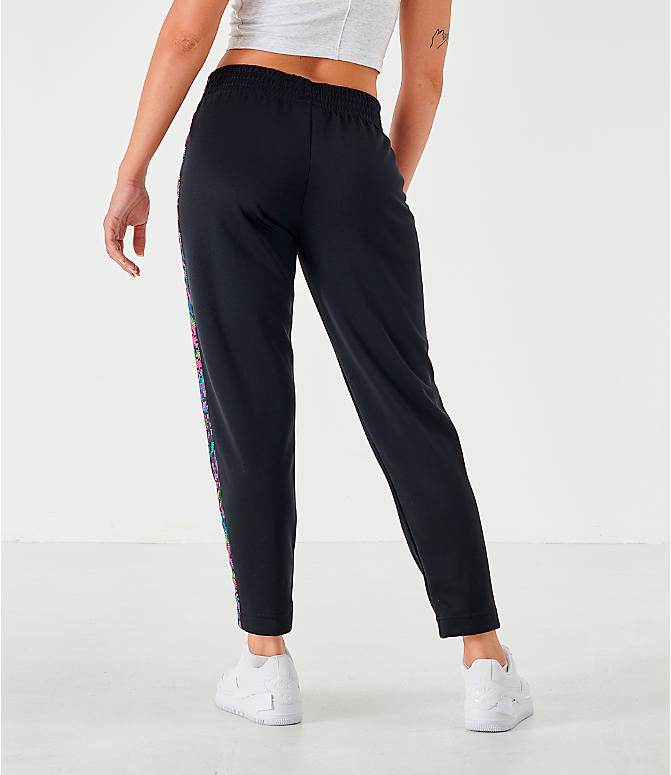 Back Right view of Women's Nike Sportswear Satin High-Waist Pants in Black/White