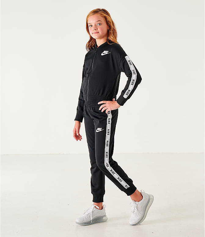 Front view of Girls' Nike Sportswear Track Suit in Black/White