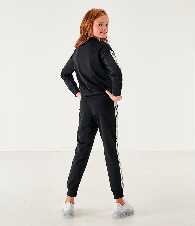 Back Left view of Girls' Nike Sportswear Track Suit in Black/White