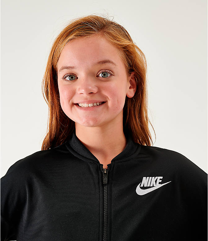 Back Right view of Girls' Nike Sportswear Track Suit in Black/White
