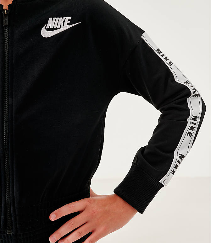On Model 5 view of Girls' Nike Sportswear Track Suit in Black/White
