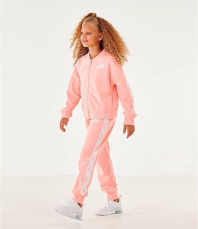 Front view of Girls' Nike Sportswear Track Suit in Bleached Coral
