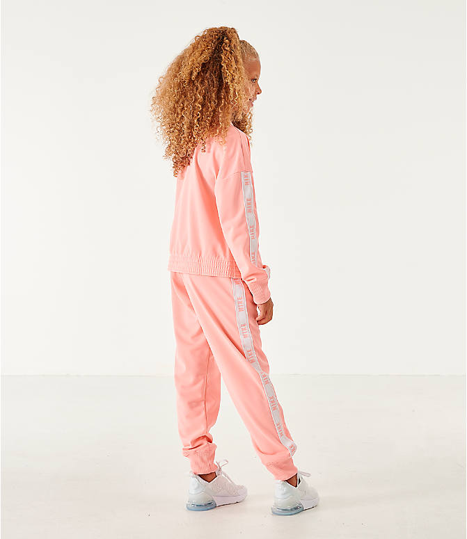 Back Left view of Girls' Nike Sportswear Track Suit in Bleached Coral