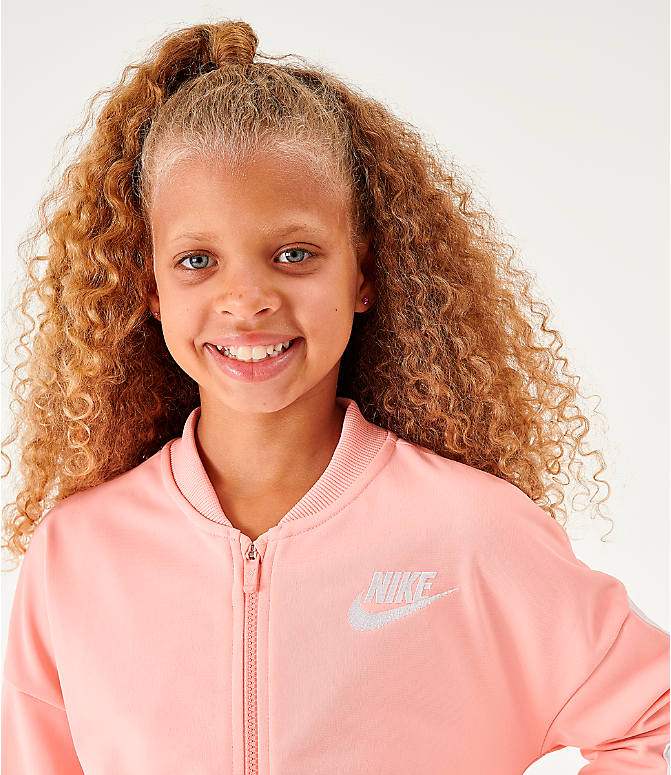 Back Right view of Girls' Nike Sportswear Track Suit in Bleached Coral