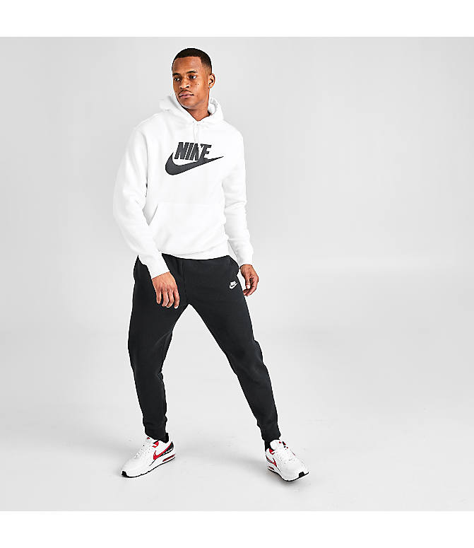 new concept dda64 f030b Front Three Quarter view of Men s Nike Sportswear Club Fleece Hoodie in  White Black