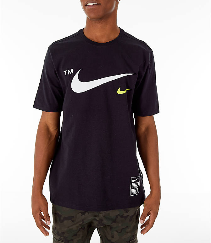Front view of Men's Nike Sportswear Microbranding T-Shirt in Black