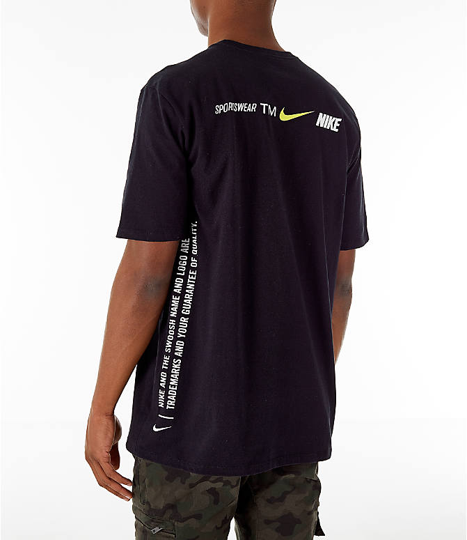 Back Left view of Men's Nike Sportswear Microbranding T-Shirt in Black