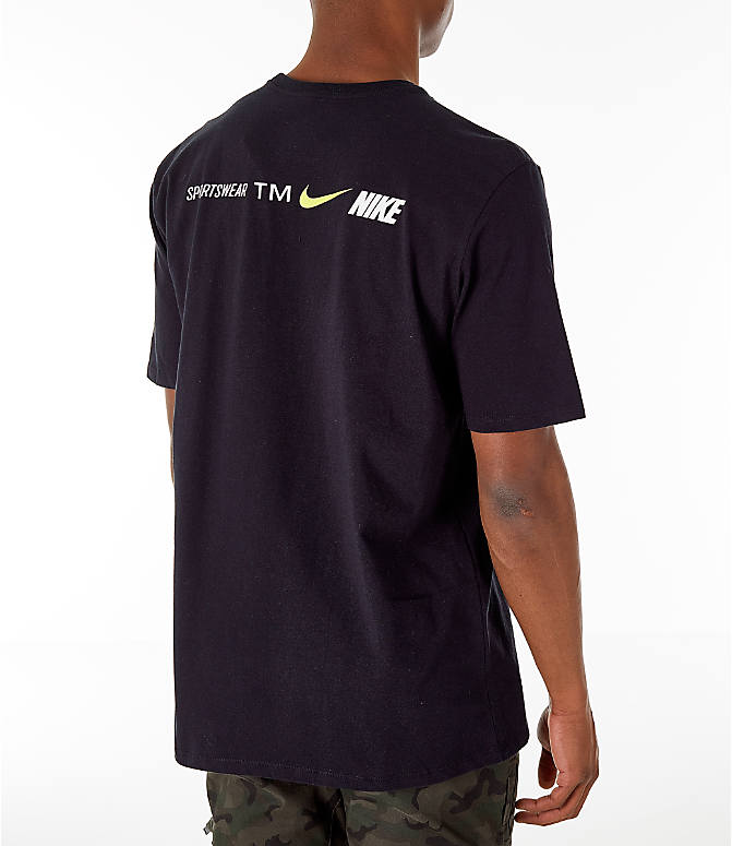 Back Right view of Men's Nike Sportswear Microbranding T-Shirt in Black
