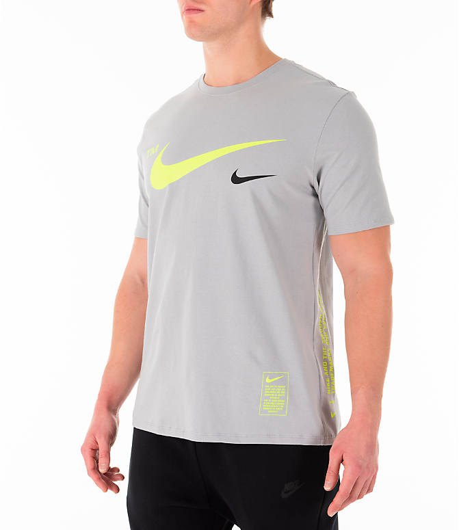 Front Three Quarter view of Men's Nike Sportswear Microbranding T-Shirt in Grey