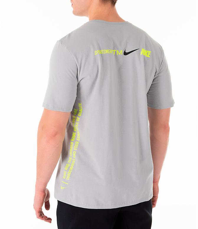 Back Left view of Men's Nike Sportswear Microbranding T-Shirt in Grey