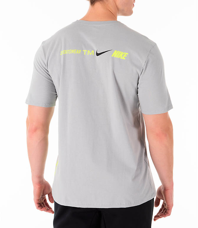 Back Right view of Men's Nike Sportswear Microbranding T-Shirt in Grey