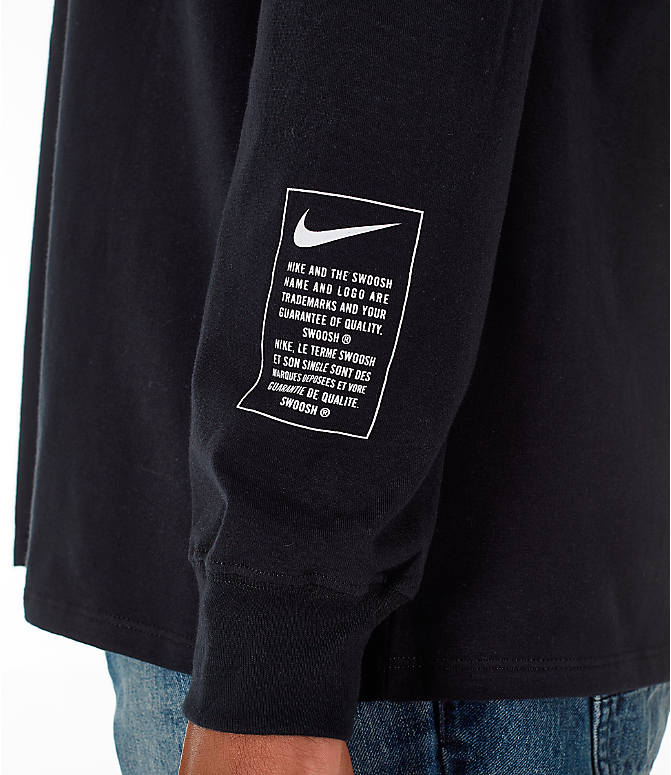 Detail 1 view of Men's Nike Sportswear Microbranding Long Sleeve T-Shirt in Black