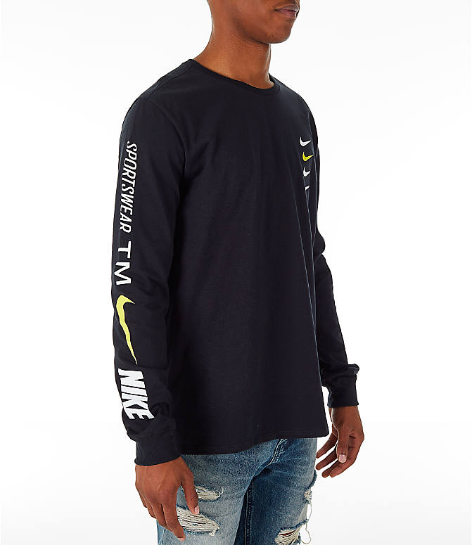 Front view of Men's Nike Sportswear Microbranding Long Sleeve T-Shirt in Black