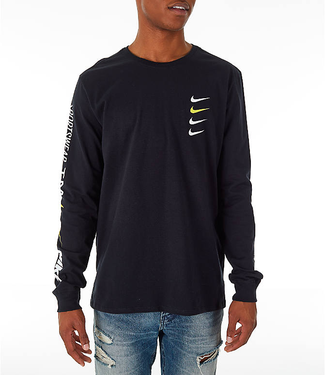 Front Three Quarter view of Men's Nike Sportswear Microbranding Long Sleeve T-Shirt in Black
