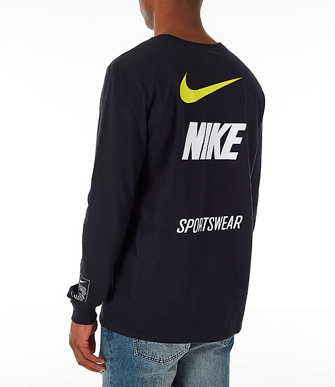 Back Left view of Men's Nike Sportswear Microbranding Long Sleeve T-Shirt in Black
