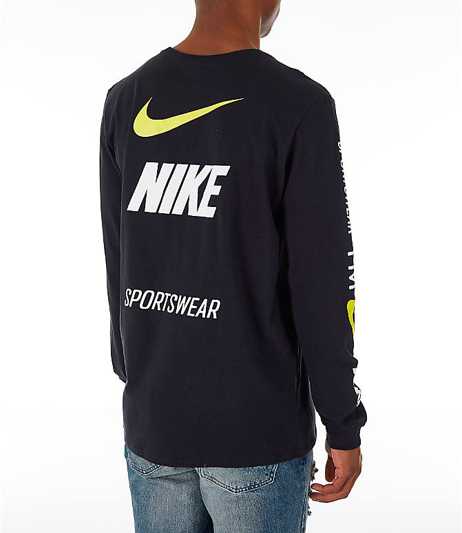 Back Right view of Men's Nike Sportswear Microbranding Long Sleeve T-Shirt in Black
