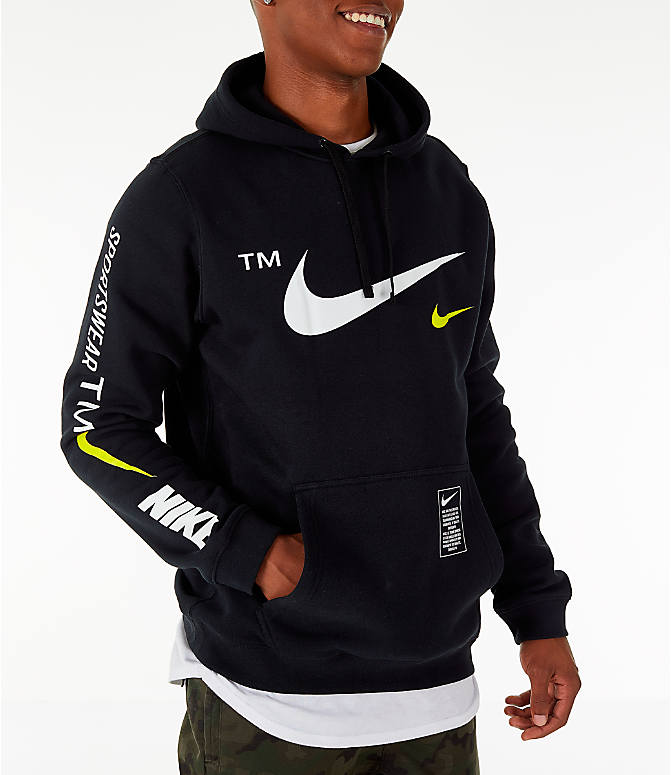 Front view of Men's Nike Sportswear Microbranding Hoodie in Black