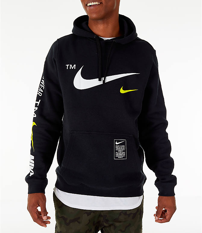 Front Three Quarter view of Men's Nike Sportswear Microbranding Hoodie in Black