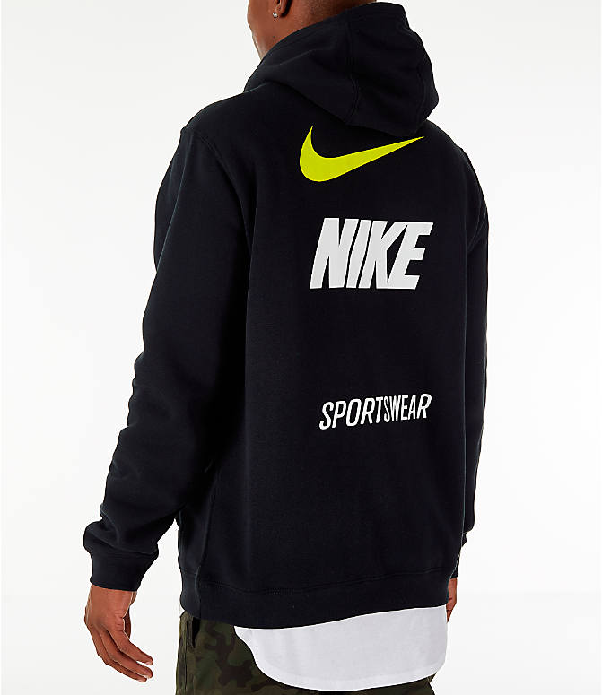 Back Left view of Men's Nike Sportswear Microbranding Hoodie in Black