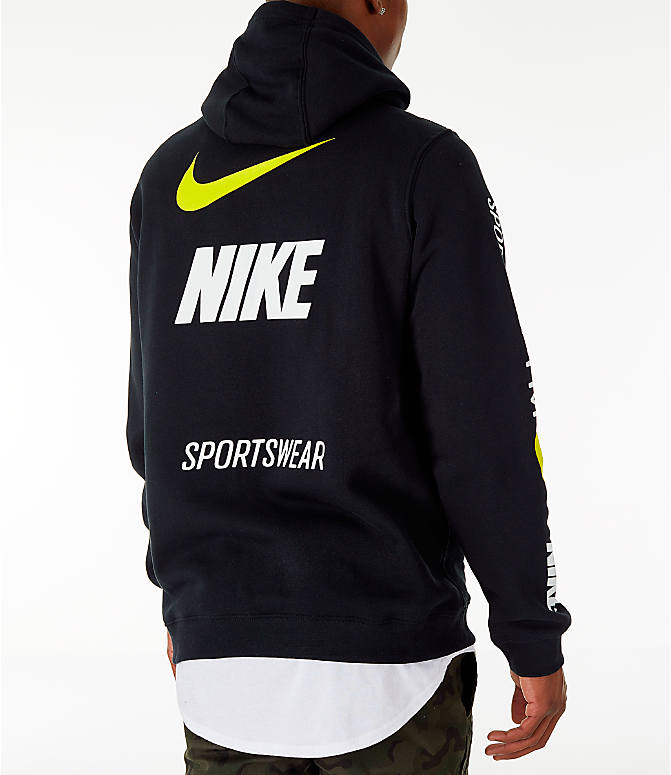 Back Right view of Men's Nike Sportswear Microbranding Hoodie in Black