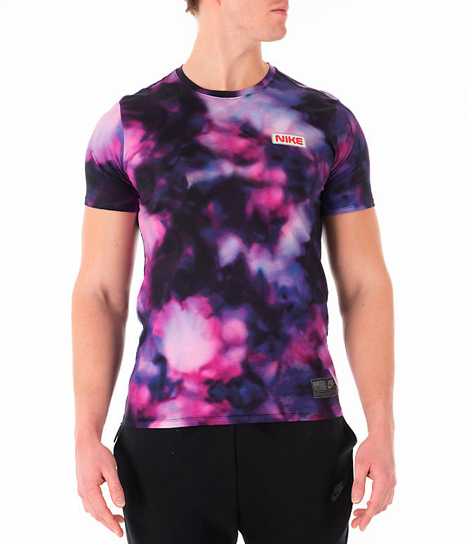 Front view of Men's Nike Sportswear Stargazer T-Shirt in Black/Multi