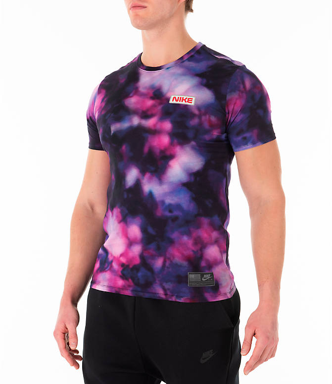 Front Three Quarter view of Men's Nike Sportswear Stargazer T-Shirt in Black/Multi