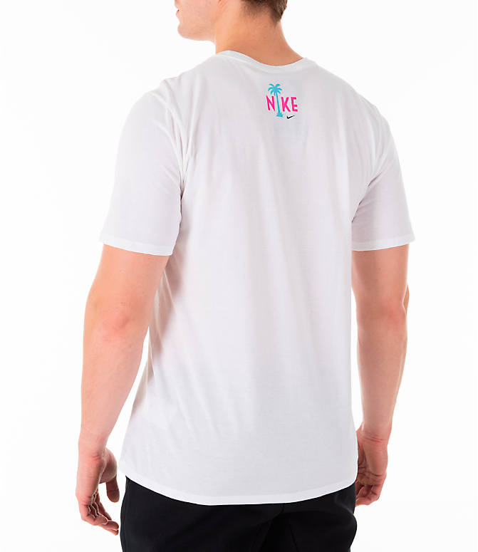 Back Left view of Men's Nike Sportswear South Beach T-Shirt in White