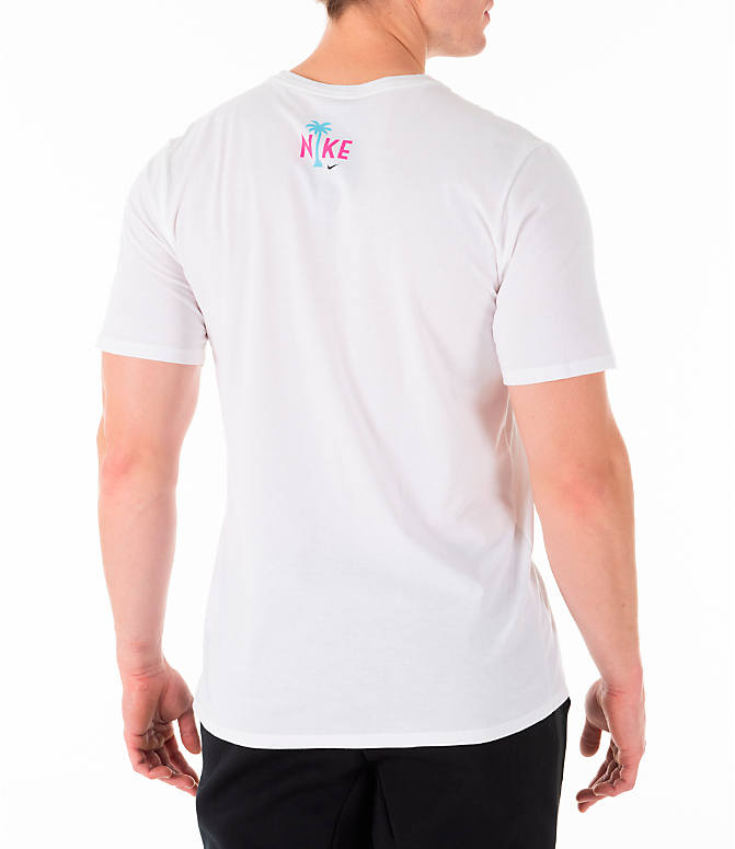 Back Right view of Men's Nike Sportswear South Beach T-Shirt in White