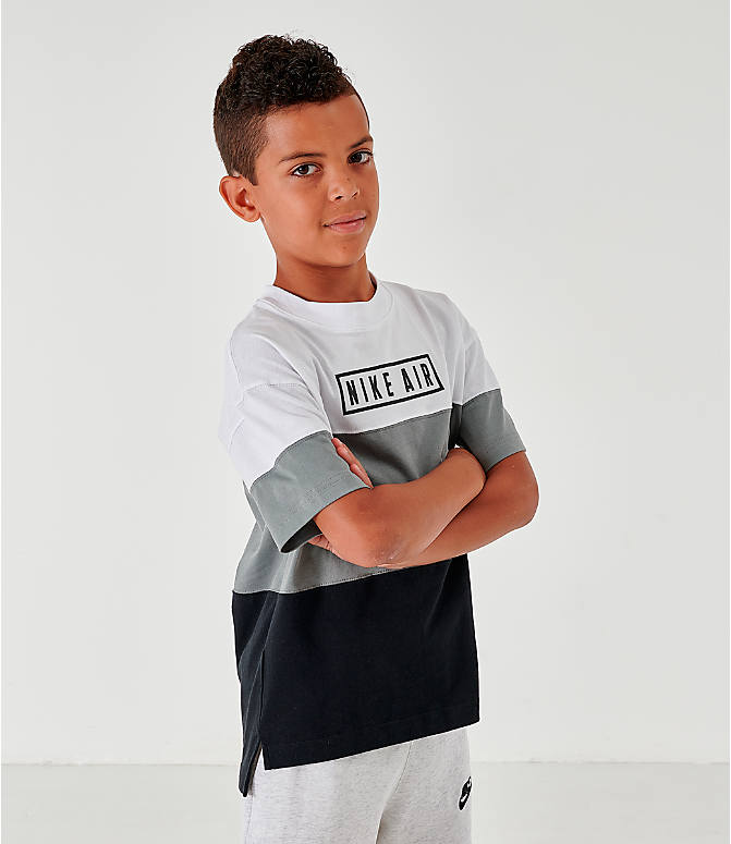 Back Left view of Boys' Nike Air Colorblock T-Shirt in Black/Dark Steel Grey/White/Black