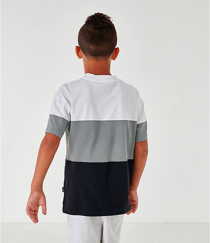 Back Right view of Boys' Nike Air Colorblock T-Shirt in Black/Dark Steel Grey/White/Black