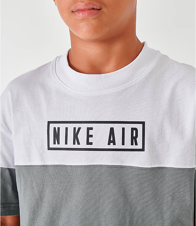 On Model 5 view of Boys' Nike Air Colorblock T-Shirt in Black/Dark Steel Grey/White/Black
