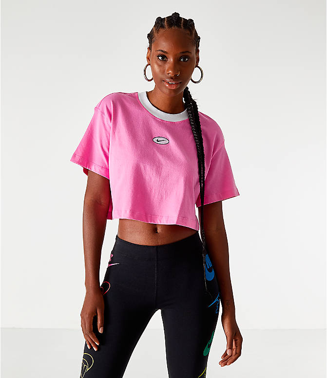 Front view of Women's Nike Sportswear Swoosh Cropped T-Shirt in China Rose