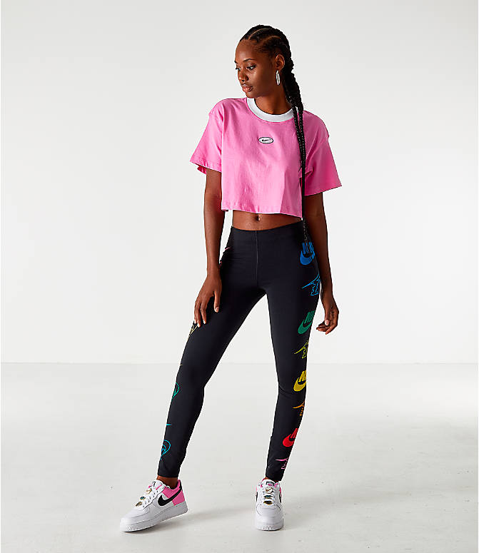 Front Three Quarter view of Women's Nike Sportswear Swoosh Cropped T-Shirt in China Rose