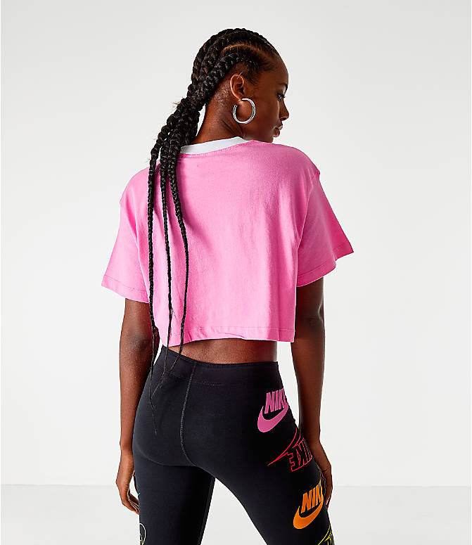 Back Left view of Women's Nike Sportswear Swoosh Cropped T-Shirt in China Rose