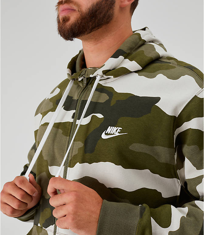 Detail 1 view of Men's Nike Sportswear Camo Club Fleece Full-Zip Hoodie in Medium Olive