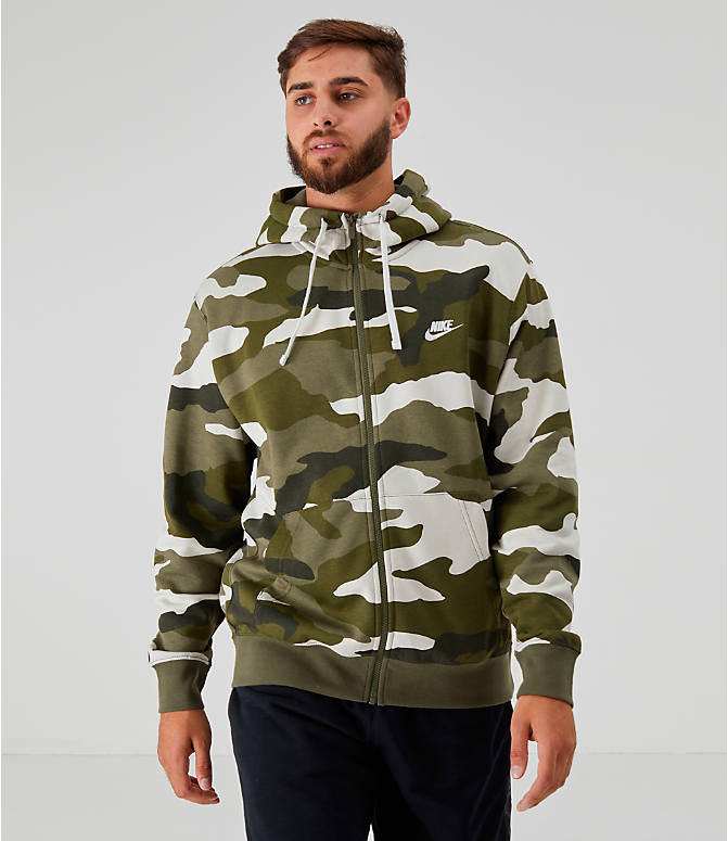 Front view of Men's Nike Sportswear Camo Club Fleece Full-Zip Hoodie in Medium Olive
