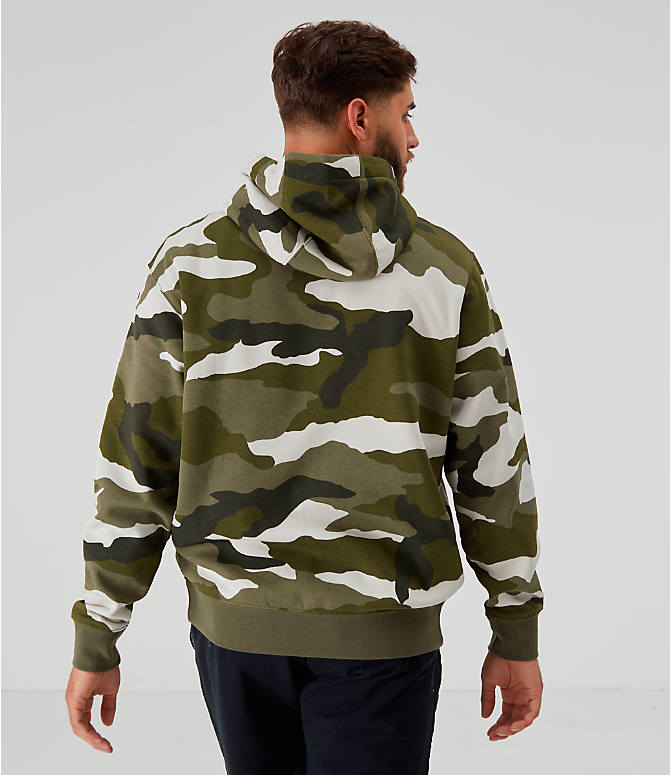 Back Left view of Men's Nike Sportswear Camo Club Fleece Full-Zip Hoodie in Medium Olive