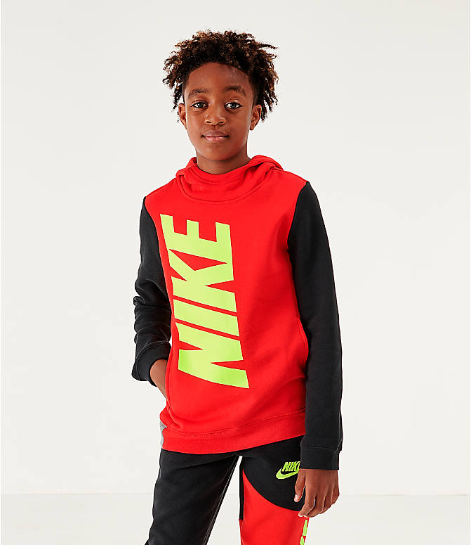 Front view of Boys' Nike Sportswear Amplify Hoodie in University Red/Black/Carbon Heather