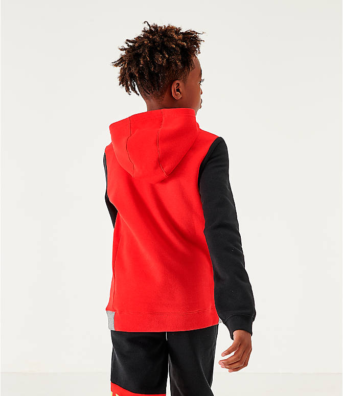 Back Left view of Boys' Nike Sportswear Amplify Hoodie in University Red/Black/Carbon Heather