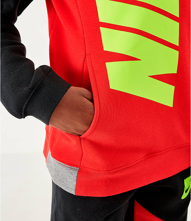 Back Right view of Boys' Nike Sportswear Amplify Hoodie in University Red/Black/Carbon Heather