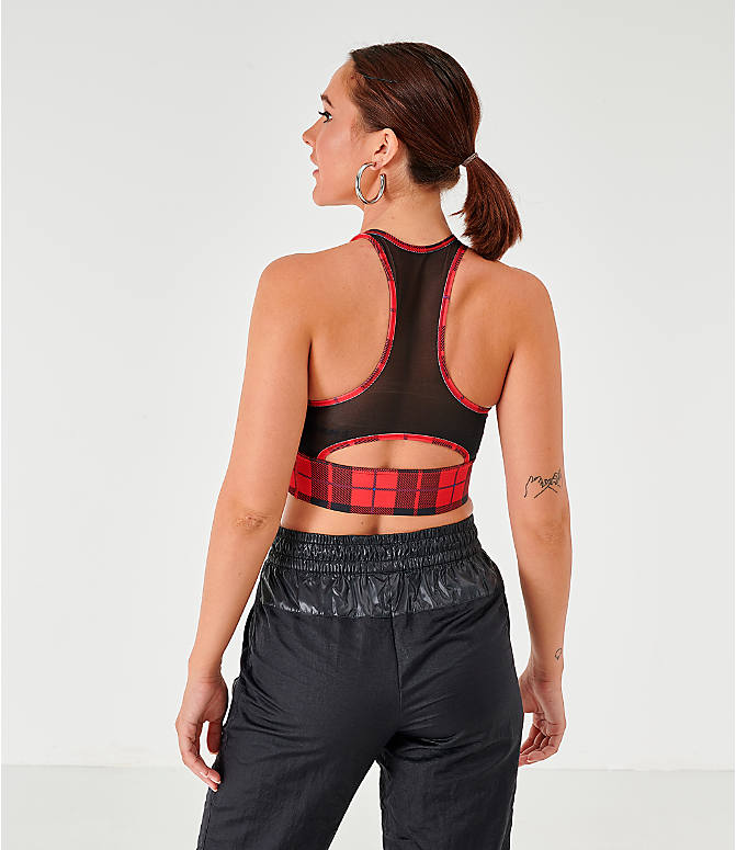 Back Left view of Women's Nike Medium Support Plaid Sports Bra in University Red/Plaid