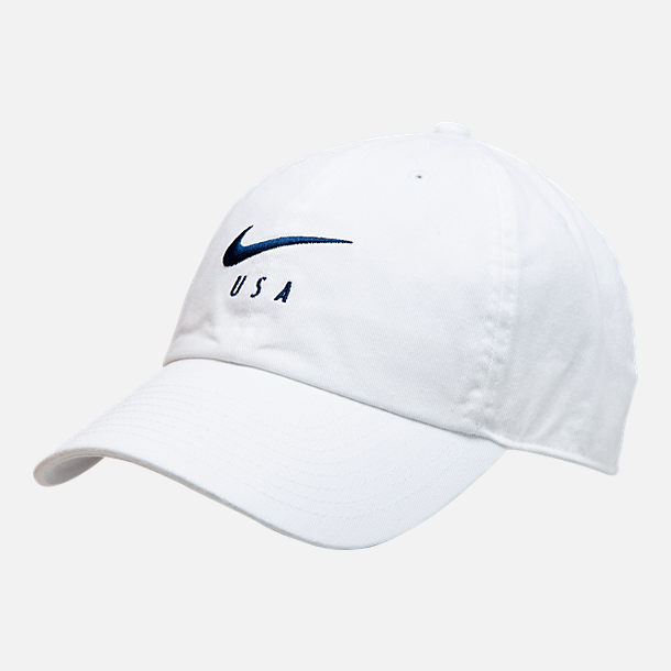 Front view of Nike Heritage86 U.S. Soccer Strapback Hat in White/Navy